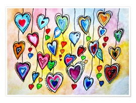 Premium poster  Awesome Colorful Hearts - siegfried2838