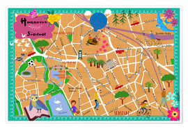 Premium poster Colorful city map Hanover