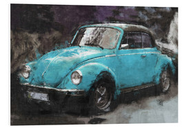Foam board print  Little blue vintage car - LoRo-Art