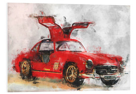 Foam board print  Oldtimer - red - LoRo-Art