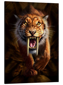 Aluminium print  Full on view of a Saber-toothed Tiger - Jerry LoFaro