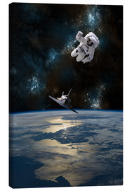 Canvas print  An Astronaut Drifting into Space - Marc Ward