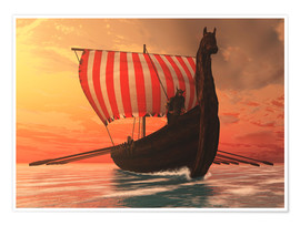 Premium poster  A Viking longboat sails to new shores - Corey Ford