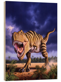 Wood print  A Tyrannosaurus Rex attacks, lit by the late afternoon sun. - Jerry LoFaro