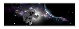 Premium poster  Astronaut floating in outer space - Marc Ward