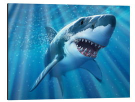 Aluminium print  A Great White Shark with sunrays just below the surface. - Jerry LoFaro