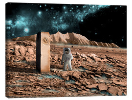 Canvas print  Astronaut on an alien world discovers an artifact that indicates past intelligent life. - Marc Ward