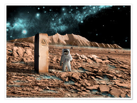 Premium poster  Astronaut on an alien world discovers an artifact that indicates past intelligent life. - Marc Ward
