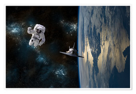 Premium poster  An astronaut drifting in space is rescued by a space shuttle orbiting Earth. - Marc Ward