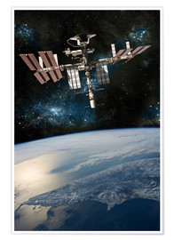Premium poster  Space shuttle docked at the International Space Station. - Marc Ward