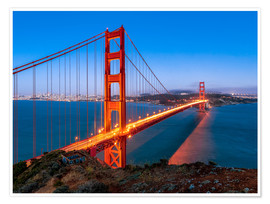 Premium poster  Night shot of the Golden Gate Bridge in San Francisco California, USA - Jan Christopher Becke