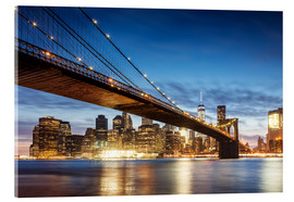 Acrylic print  Brooklyn bridge and Manhattan at night, New York city, USA - Matteo Colombo