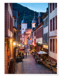 Premium poster  Romantic Old Town at night in Heidelberg, Germany - Jan Christopher Becke
