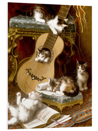Foam board print  Kittens at play with a guitar - Jules Le Roy