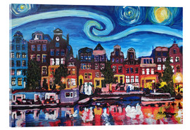 Acrylic print  Starry Night over Amsterdam Canal, Van Gogh Inspiration - M. Bleichner