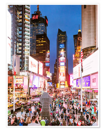 Premium poster  Times square at night illuminated by neon lights, New York city, USA - Matteo Colombo