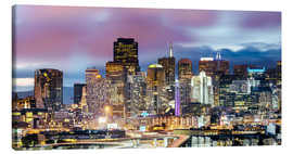 Canvas print  Panoramic of San Francisco downtown district skyline at night, California, USA - Matteo Colombo