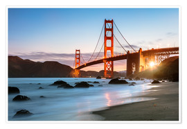 Premium poster Golden Gate Bridge mystical