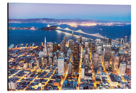 Aluminium print  Aerial view of San Francisco downtown with Bay bridge at night, California, USA - Matteo Colombo