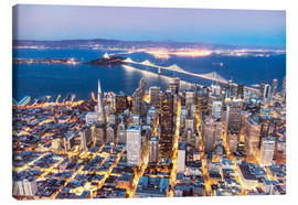 Canvas print  Aerial view of San Francisco downtown with Bay bridge at night, California, USA - Matteo Colombo