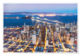 Premium poster  Aerial view of San Francisco downtown with Bay bridge at night, California, USA - Matteo Colombo