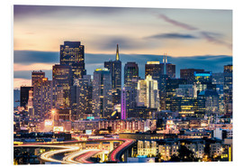 Foam board print  San Francisco downtown district skyline at night, California, USA - Matteo Colombo
