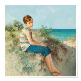 Premium poster  Girl in the dunes by the North Sea beach on Sylt - Hermann Seeger