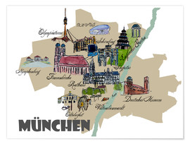 Premium poster  Munich Map Overview Best Of Highlights - M. Bleichner