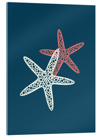 Acrylic print  Nautical logo starfish sea nautical ocean art - Nory Glory Prints