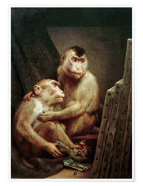 Premium poster  The art critic - two monkeys look at a painting - Gabriel von Max