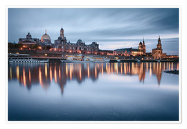 Premium poster  Dresden old town at the blue hour - Philipp Dase