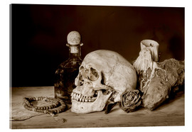 Acrylic print  Still Life - skull, ancient book, dry rose and candle