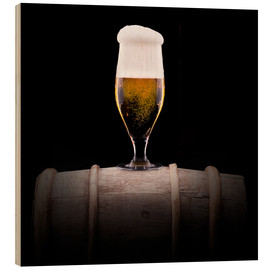 Wood print  Frosty glass of light beer