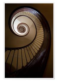 Premium poster Wooden and steel spiral staircase