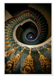 Premium poster  Ornamented spiral staircase in green and yellow - Jaroslaw Blaminsky