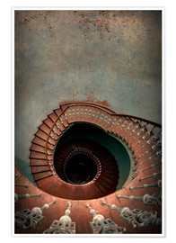 Premium poster Spiral staircase in red