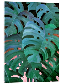 Acrylic print  Monstera Love in Teal and Emerald Green - Micklyn Le Feuvre