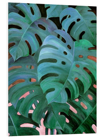Foam board print  Monstera Love in Teal and Emerald Green - Micklyn Le Feuvre