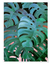 Premium poster  Monstera Love in Teal and Emerald Green - Micklyn Le Feuvre