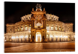 Acrylic print  Saxon State Opera House in Dresden at night (Germany) - Christian Müringer