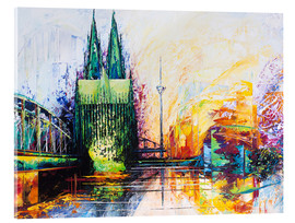 Acrylic print  Cologne Cathedral Skyline colored - Renate Berghaus