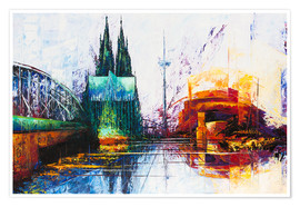 Premium poster  Cologne Cathedral Skyline - Renate Berghaus