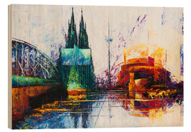 Wood print  Cologne Cathedral Skyline - Renate Berghaus