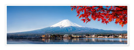 Premium poster  Mount Fuji and Lake Kawaguchiko in autumn - Jan Christopher Becke