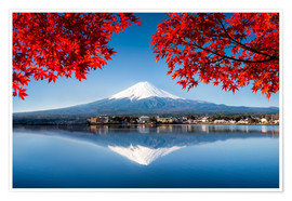 Premium poster  Mount Fuji at the lake Kawaguchiko in Japan - Jan Christopher Becke