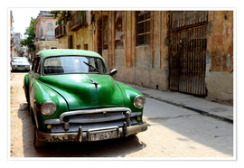 Premium poster  Vintage car in the streets of Havana, Cuba - HADYPHOTO