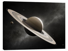 Canvas print  Planet Saturn with major moons - Johan Swanepoel