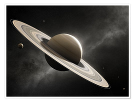 Premium poster  Planet Saturn with major moons - Johan Swanepoel
