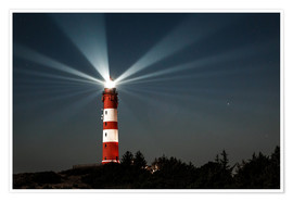 Premium poster  Lighthouse night on Amrum - Oliver Henze