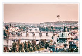 Premium poster  Balloon over the bridges of Prague - Philipp Dase